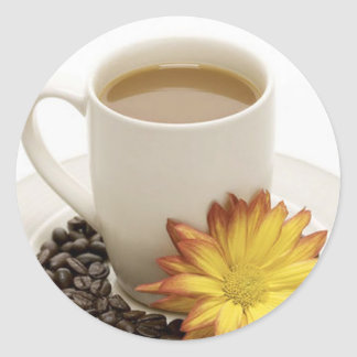 Pretty Coffee Cup with Flower Classic Round Sticker