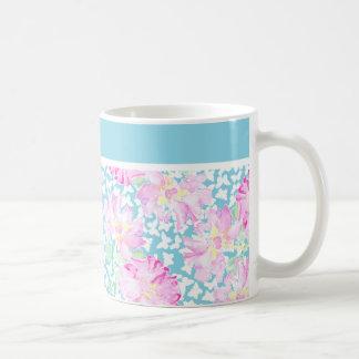 Pretty Coffee Mug, Pink Roses, White Butterflies