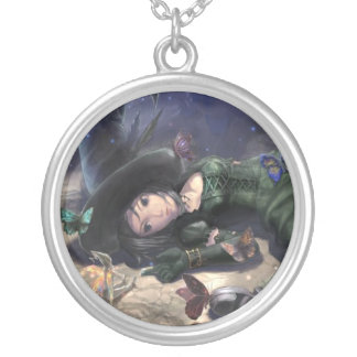 pretty collar witch fairy and moon butterfly round pendant necklace