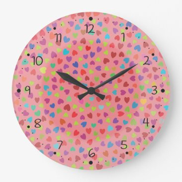 Pretty color Hearts Large Clock