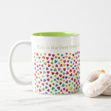 Pretty color Hearts Two-Tone Coffee Mug