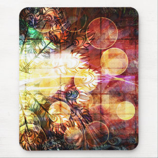 Pretty Colorful Abstract Peacock Feathers Design Mouse Pad