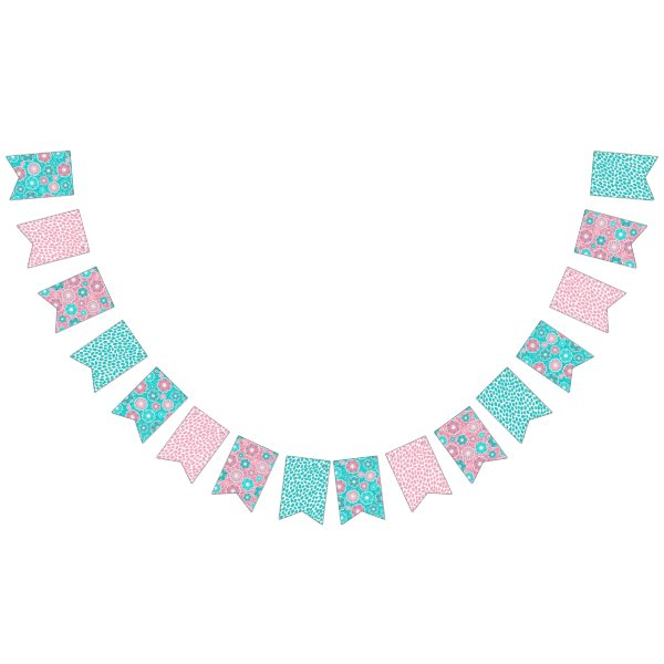 Pretty colorful aqua pink floral abstract bunting flags