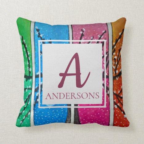 Pretty Colorful Blue Green Orange Pink | Monogram Throw Pillow