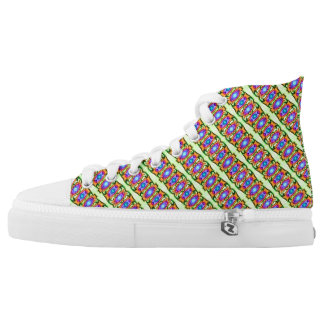 Pretty Colorful blue orange shapes on green High-Top Sneakers