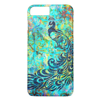 Pretty Colorful Bright Turquoise Peacock Abstract iPhone 7 Plus Case