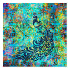 Pretty Colorful Bright Turquoise Peacock Abstract Poster