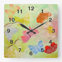 Pretty Colorful Butterflies. Square Wall Clock
