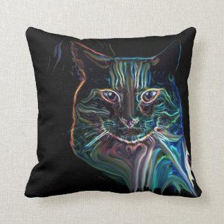 Pretty Colorful Cat Art Design on Black Pillow