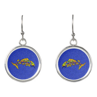 Pretty Colorful Fancy Abstract Fish Vivid Blue Earrings
