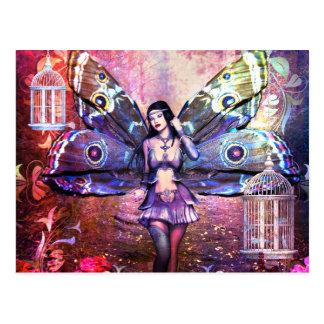Pretty Colorful Fantasy Fairy Gypsy Moth Postcard