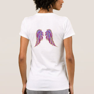 Pretty Colorful Feathers Angel Wings Design T-shirt