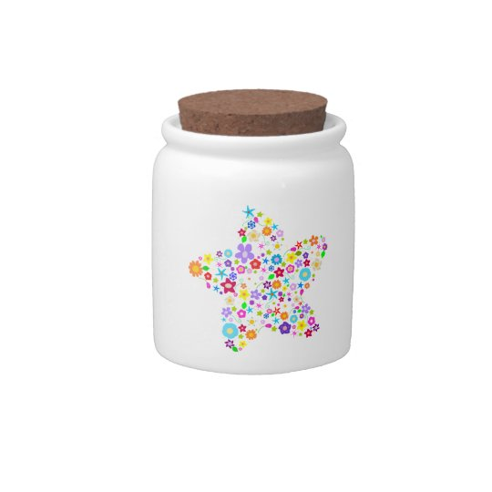 Pretty Colorful Floral Star Candy Dish