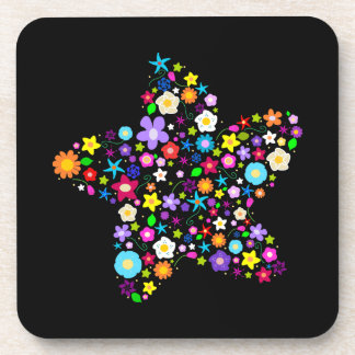 Pretty Colorful Floral Star Beverage Coaster
