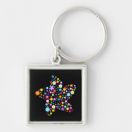 Pretty Colorful Floral Star Silver-Colored Square Keychain
