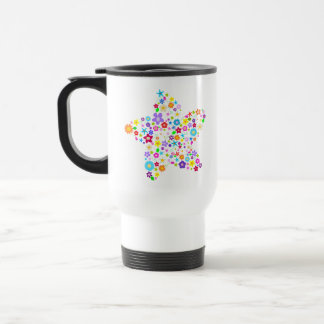 Pretty Colorful Floral Star Coffee Mug