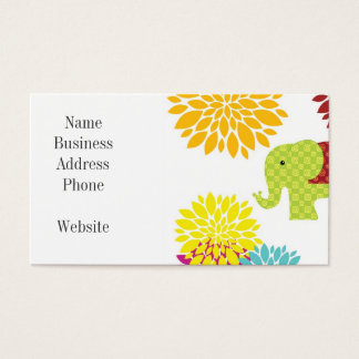 Pretty Colorful Hippie Elephant Flower Power Business Card
