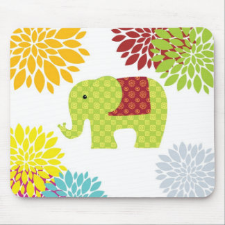 Pretty Colorful Hippie Elephant Flower Power Mouse Pad