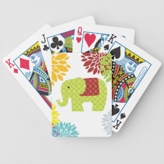 Pretty Colorful Hippie Elephant Flower Power Deck Of Cards