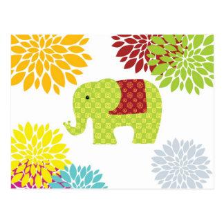 Pretty Colorful Hippie Elephant Flower Power Postcard