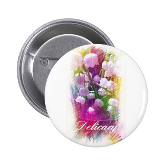 Pretty Colorful Lily of The Valley Botanical Pinback Button