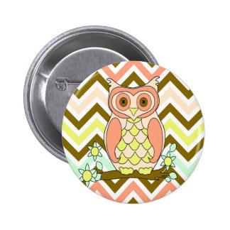 Pretty Colorful Owl against Chevron Background Pinback Button