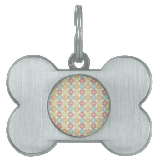 Pretty Colorful Pastel Textured Circles Pattern Pet Tag
