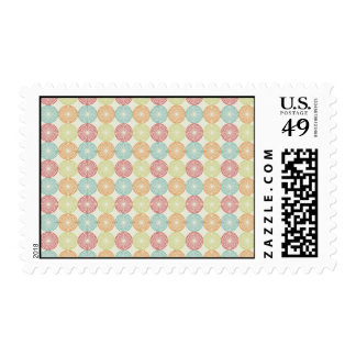 Pretty Colorful Pastel Textured Circles Pattern Postage