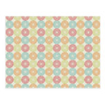 Pretty Colorful Pastel Textured Circles Pattern Postcards