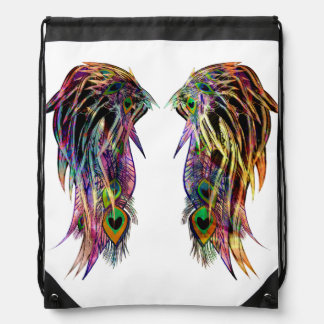 Pretty Colorful Peacock Feather Angel Wings Drawstring Bag