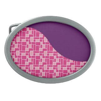 Pretty Colorful Pink Tiles Purple Wave Pattern Belt Buckles