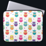 """Pretty Colorful Rainbow Owl Pattern Tween Kids Computer Sleeve<br><div class=""""desc"""">Adorable Kids and Teens Colorful Rainbow Owl Pattern laptop case. Pretty bright and colorful owl pattern features white background with multicolored owls and hearts. Teal,  pink,  purple,  orange,  yellow,  green red,  and blue colored owls. Adorable owl themed gifts for kids and owl loving tweens and adults.</div>"""