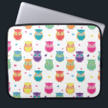 "Pretty Colorful Rainbow Owl Pattern Tween Kids Computer Sleeve<br><div class=""desc"">Adorable Kids and Teens Colorful Rainbow Owl Pattern laptop case. Pretty bright and colorful owl pattern features white background with multicolored owls and hearts. Teal,  pink,  purple,  orange,  yellow,  green red,  and blue colored owls. Adorable owl themed gifts for kids and owl loving tweens and adults.</div>"