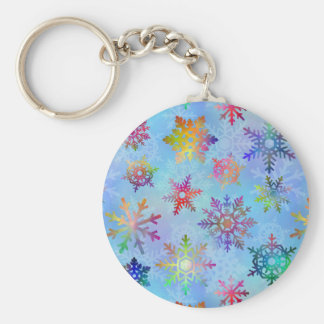 Pretty Colorful Snowflakes Christmas Pattern Basic Round Button Keychain