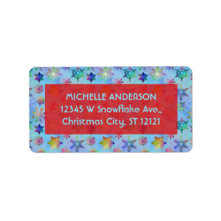 Pretty Colorful Snowflakes Christmas Pattern Label
