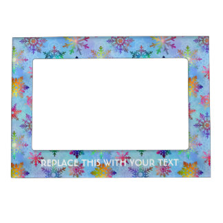 Pretty Colorful Snowflakes Christmas Pattern Magnetic Photo Frame