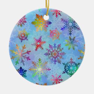 Pretty Colorful Snowflakes Christmas Pattern Christmas Ornament