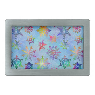 Pretty Colorful Snowflakes Christmas Pattern Rectangular Belt Buckles