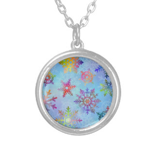 Pretty Colorful Snowflakes Christmas Pattern Round Pendant Necklace