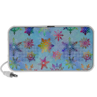 Pretty Colorful Snowflakes Christmas Pattern Travel Speaker
