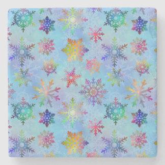 Pretty Colorful Snowflakes Christmas Pattern Stone Coaster