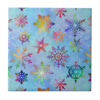 Pretty Colorful Snowflakes Christmas Pattern Small Square Tile