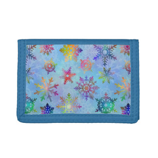 Pretty Colorful Snowflakes Christmas Pattern Trifold Wallet