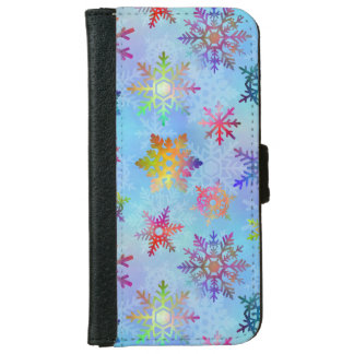 Pretty Colorful Snowflakes Christmas Pattern Wallet Phone Case For iPhone 6/6s