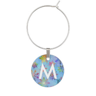 Pretty Colorful Snowflakes Christmas Pattern Wine Charm