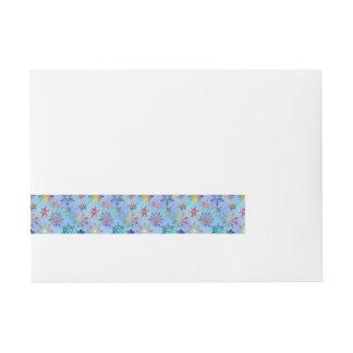 Pretty Colorful Snowflakes Christmas Pattern Wrap Around Address Label
