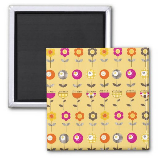 Pretty Colorful Spring Flowers Whimsical Pattern 2 Inch Square Magnet