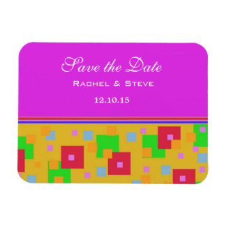 Pretty Colorful Squares Save the Date Flexi Magnet