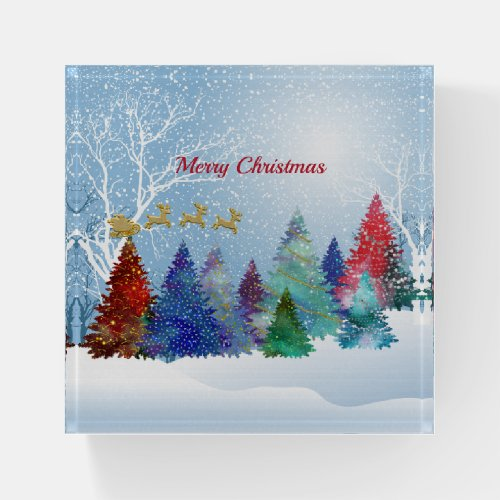 Pretty Colorful Watercolor Trees Santa Christmas Paperweight