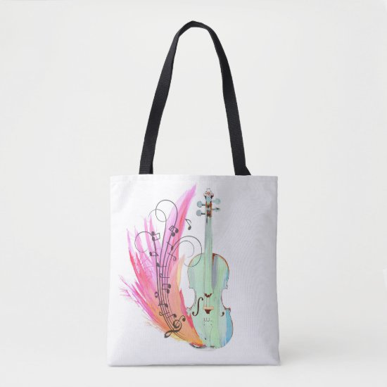 Pretty Colorful Watercolor Violin Tote
